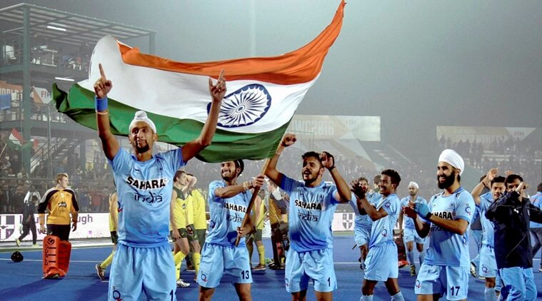 Lucknow: Indian players celebrate after defeating Australia in the Junior World Cup Hockey semifinal match in Lucknow on Friday. PTI Photo (PTI12_16_2016_000323B) *** Local Caption ***
