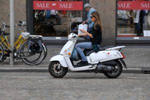 modern woman on a motorbike