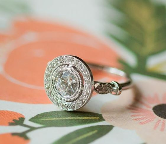 unique halo engagement ring design