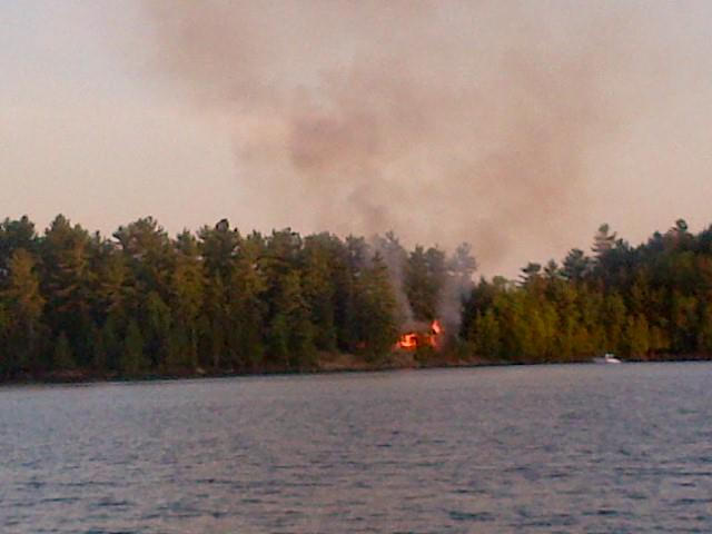 When a fire occurred on Langmaid's island