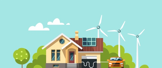 Green energy an eco friendly houses - solar energy, wind energy. Vector concept illustration.