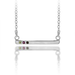 Personalized Multi Stone Bar Necklace
