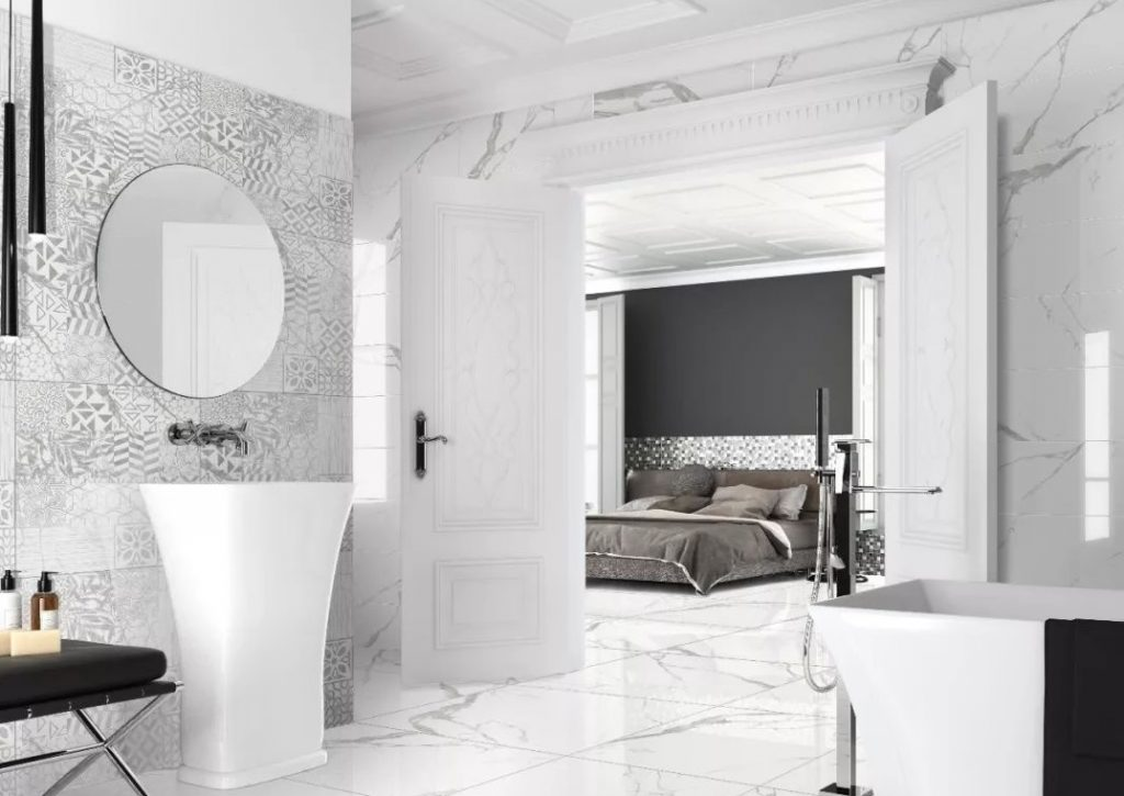 white porcelain tile