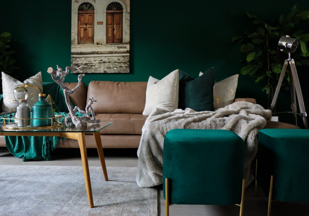 deep green room pain color and grey furniture living room