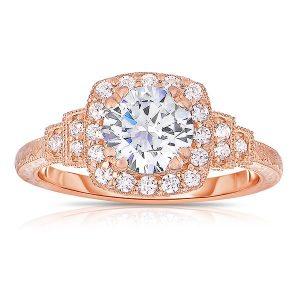 14k Pink Round Cut Halo Diamond Vintage Engagement Ring