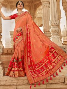 red color silk hand woven sarees